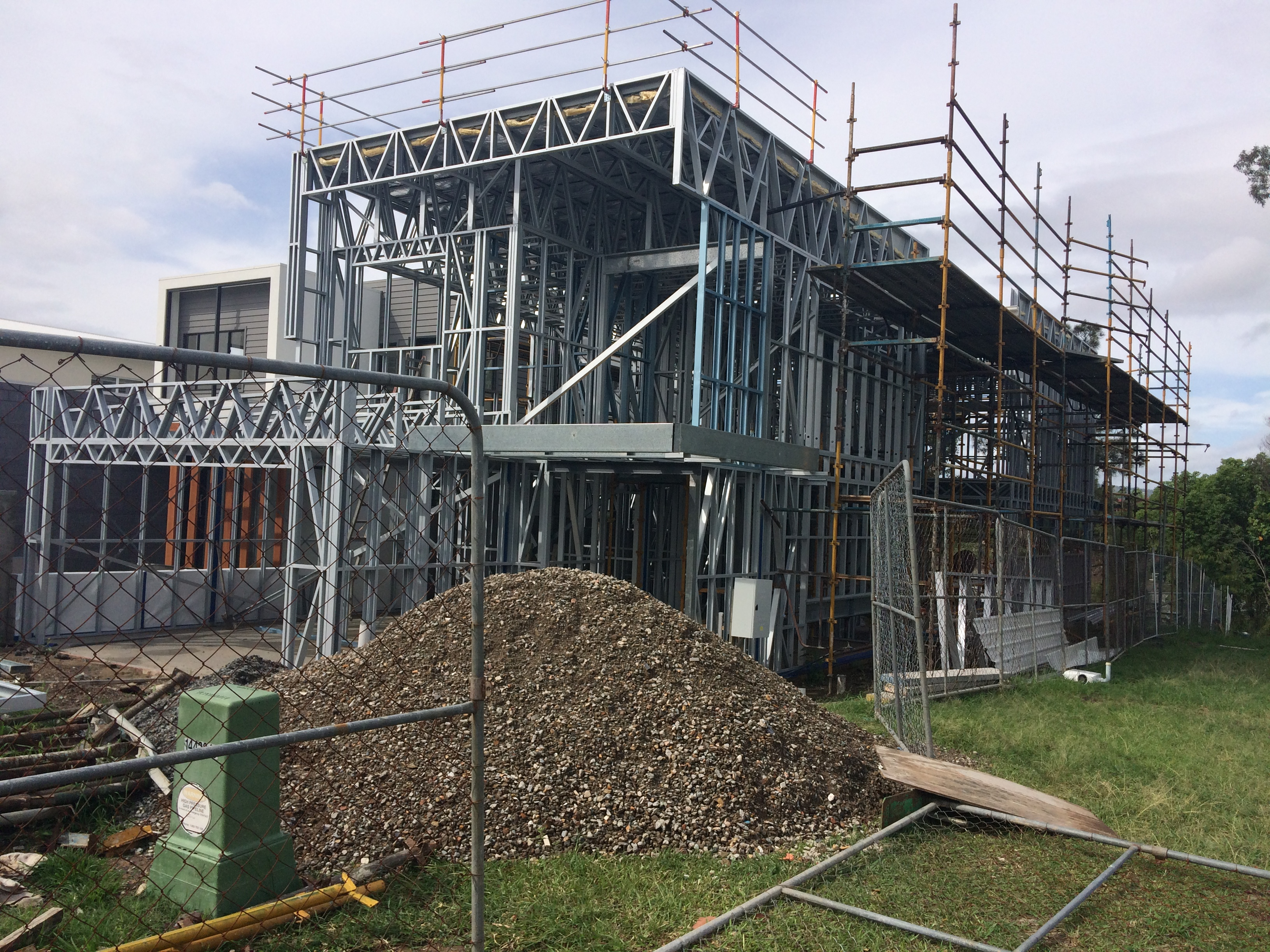 Luxury 2 storey steel frame home installed with structural steel as per engineering specification